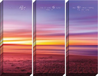 The Sea is His, for He Made It, and His Hands Formed the Dry Lands, Psalm 95:5, Tryptic Canvas Art  -