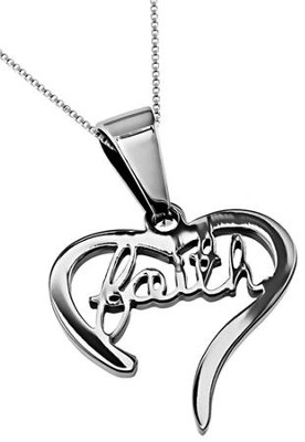 Faith Handwriting Heart Necklace   -