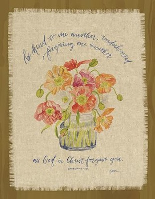 Be Kind to One Another, Ephesians 4:32, Fringed Plaque  -     By: Ruth Chou Simons