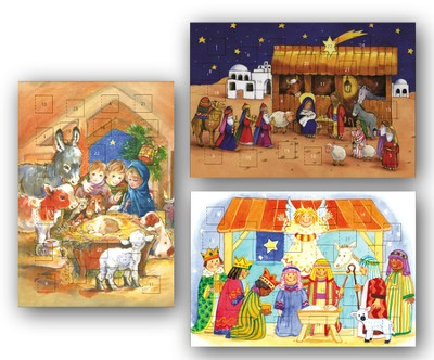 Children's Nativity Advent Calendar Cards (NKJV)  Box of 12  -