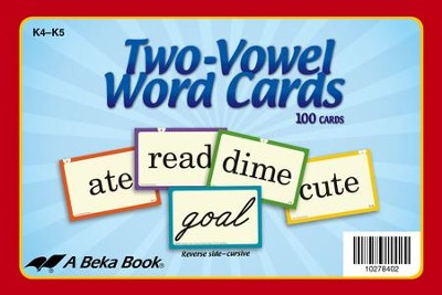 Abeka K4-K5 Two-Vowel Word Cards (100 cards)   -