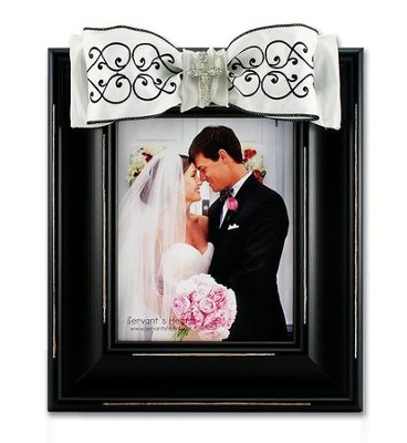 Large Photo Frame - Black and White Scroll w/ Cross Bling  -