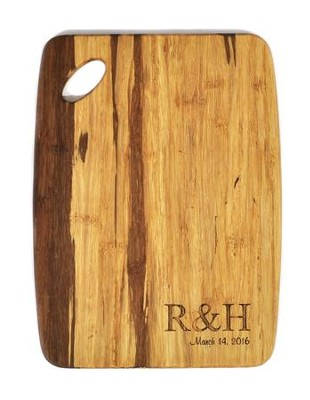 Personalized, Tiger Wood Cutting Board, Couple Initials, Small   -