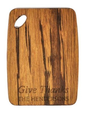 Personalized, Tiger Wood Cutting Board, Give Thanks,  Small  -