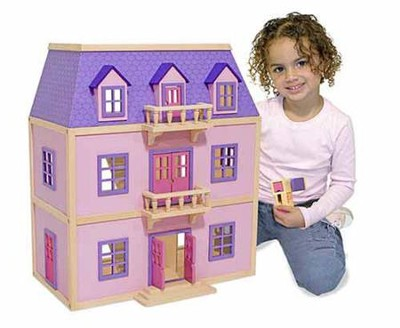 Multi-Level Wooden Dollhouse  -