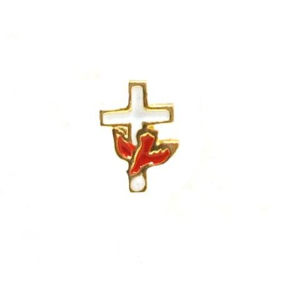 Red Dove on White Cross Lapel Pin  -