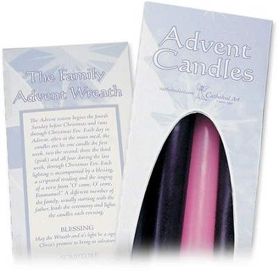 Advent Candles, 7/8 X 10, 3 Purple, 1 Pink   -