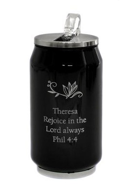 Personalized, Soda Can, Rejoice, Black   -