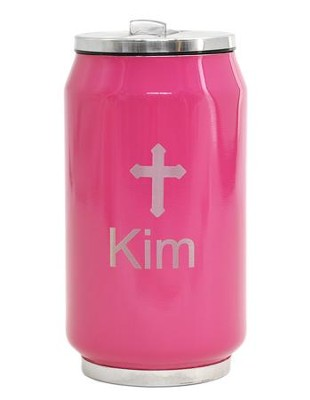 Personalized, Soda Can with Cross, Pink   -