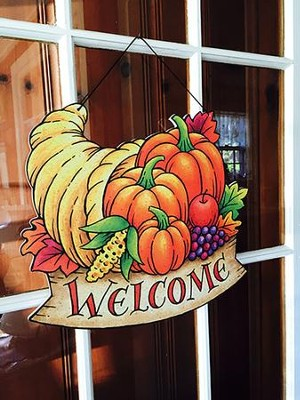 Welcome Fall Cornucopia Door Decor Hanger   -