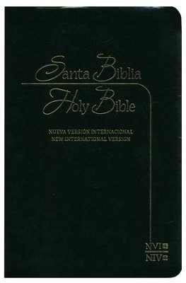 Biblia bilingue NVI/NIV, piel imit., negra  (NVI/NIV Bilingual Bible, Black Imit. Leather)  -     By: Biblica