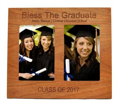 Personalized, Double Photo Frame, Graduation, Cherry   -
