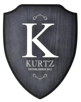 Personalized, Shield Plaque, Family Name, Black   -