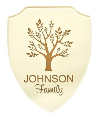 Personalized, Shield Plaque, with Tree, White   -