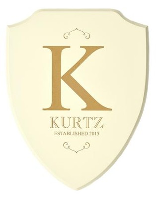 Personalized, Shield Plaque, Family Name, White   -