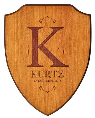 Personalized, Shield Plaque, Family Name, Cherry   -