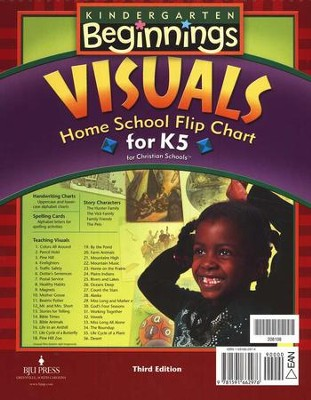 BJU Kindergarten Beginnings Visuals Home School Flip Chart for K5, Third Edition  -