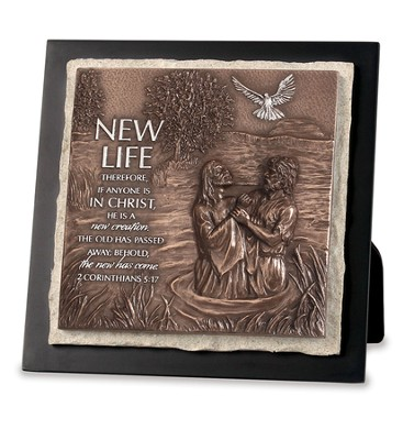 Jesus Being Baptized, New Life Sculptured Plaque  -