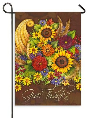 Give Thanks, Floral Cornucopia, Flag, Small  -     By: Kathleen Parr McKenna