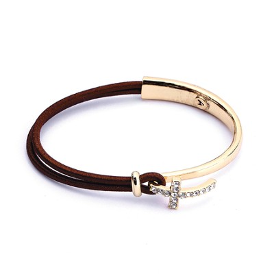 Nylon Side Cross Bracelet, Gold and Brown  -