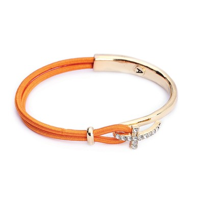 Nylon Side Cross Bracelet, Gold and Orange  -