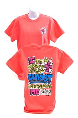Girly Grace Strength Shirt, Coral,  Extra Large  -