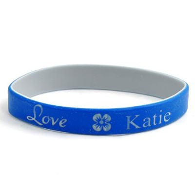 Personalized, Love Wristband, With Name and Flower, Blue  -