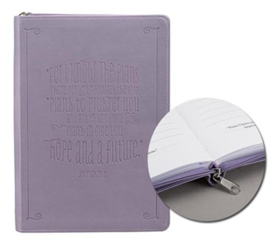 For I Know the Plans I Have For You, LuxLeather Zipper Journal, Purple  -