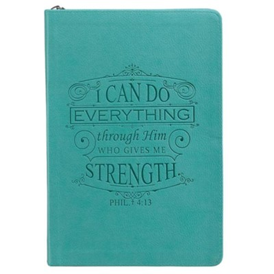 I Can Do Everything Through Him, LuxLeather Zipper Journal, Teal  -