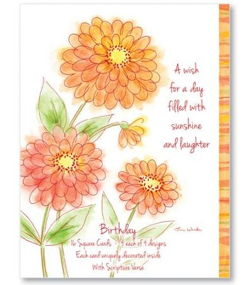 Watercolor Floral Birthday Cards, Box of 16  -