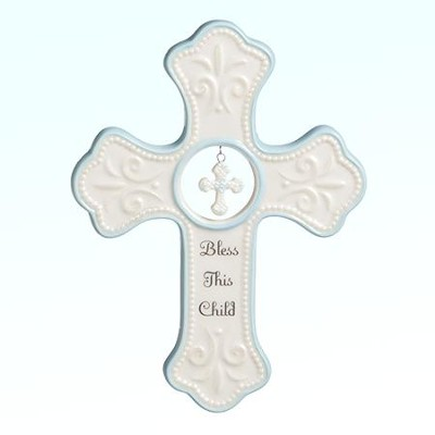 Bless This Child Wall Cross, Blue  -