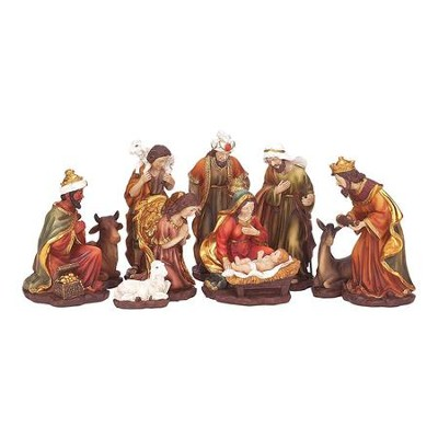 Nativity Set, Traditional, 11 Pieces, 8.75 Inches  -