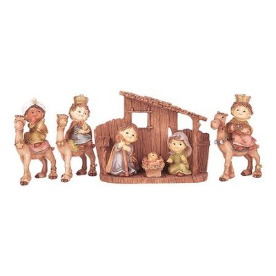 Children's Nativity Set with Creche, 7 Pieces,               -