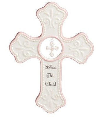 Bless This Child Wall Cross, Pink  -