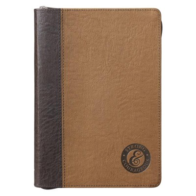 Strong & Courageous Journal, with Zipper, Lux Leather  -