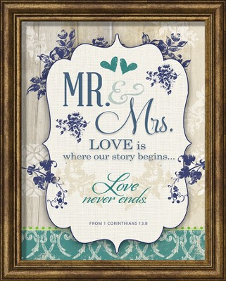 Mr. & Mrs. Love Is Where Our Story Begins Framed Art  -