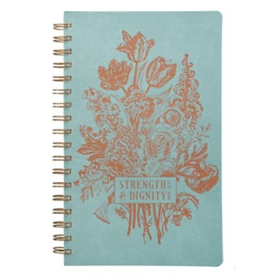 Strength & Dignity Wirebound Journal, Lux Leather, Mint Green with Foil Design  -