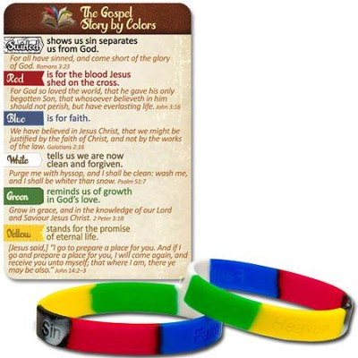 The Gospel Story Stamped Silicone Bracelet and Card, KJV  -