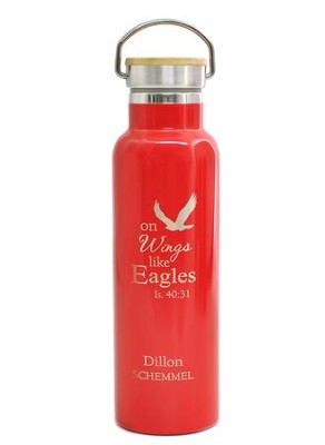 Personalized, Water Bottle with Bamboo Top, Eagle, Red   -