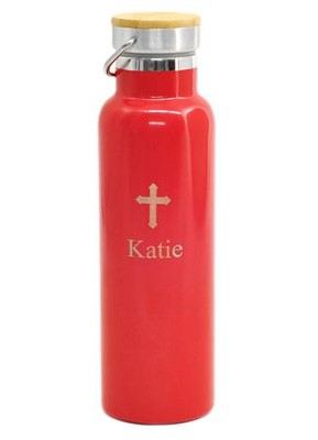 Personalized, Water Bottle With Bamboo Top and Cross, Red  -