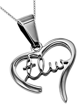 True Love Waits Handwriting Heart Necklace   -