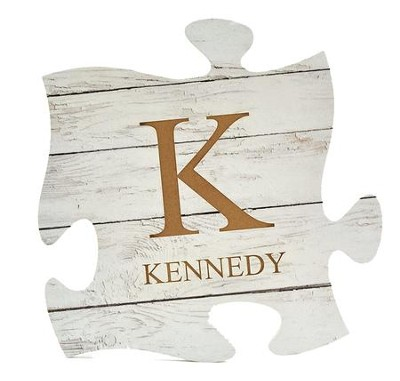 Personalized, Puzzle Piece Plaque, White   -
