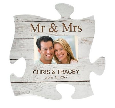 Personalized, Puzzle Photo Frame, Mr and Mrs, White   -