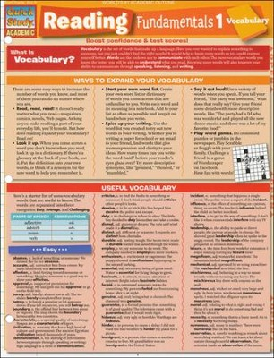 Reading Fundamentals 1 Vocabulary QuickStudy Academic Chart  -