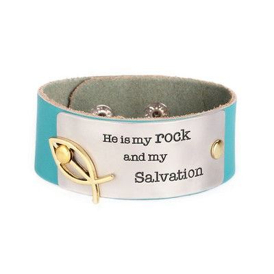 Leather Snap Bracelet, Salvation, Teal  -