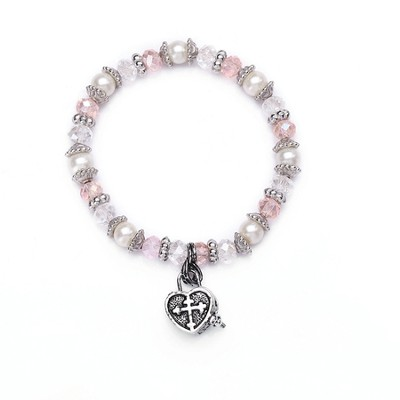 Child's Prayer Box , Heart Bracelet, Pink  -