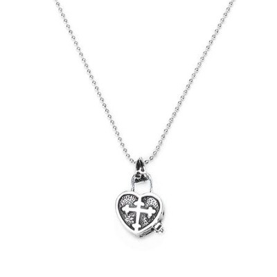 Child's Prayer Box Necklace, Rhodium Plate  -