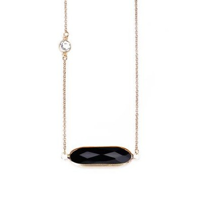 Crystal Necklace, Gold Plate, Black  -