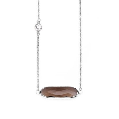 Crystal Necklace, Rhodium Plate, Smoke  -
