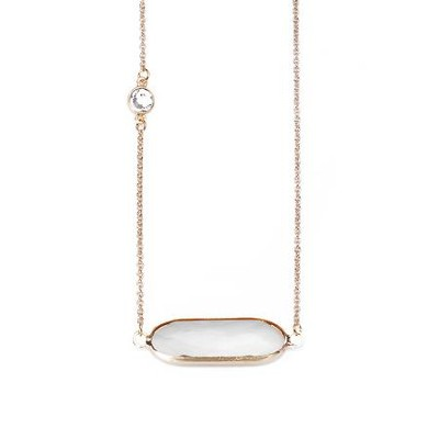 Crystal Necklace, Gold Plate, White  -
